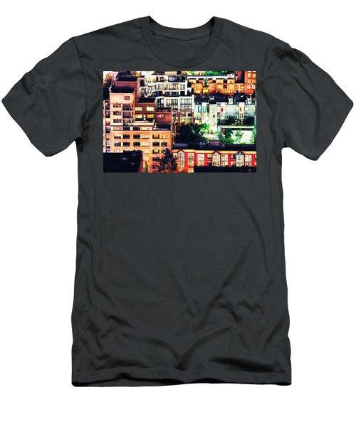 Mosaic Juxtaposition By Night Men's T-Shirt (Slim Fit) by Amyn Nasser
