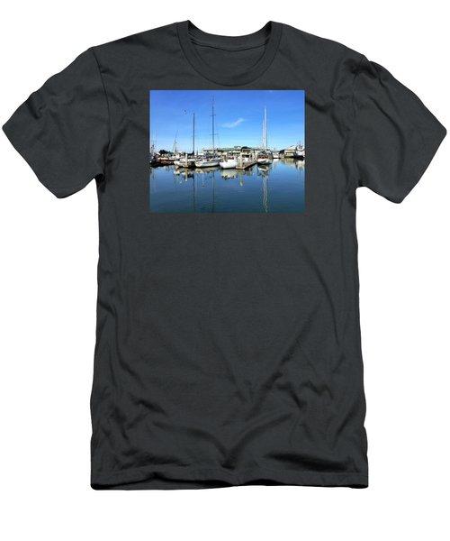Moss Landing Harbor Men's T-Shirt (Slim Fit) by Amelia Racca