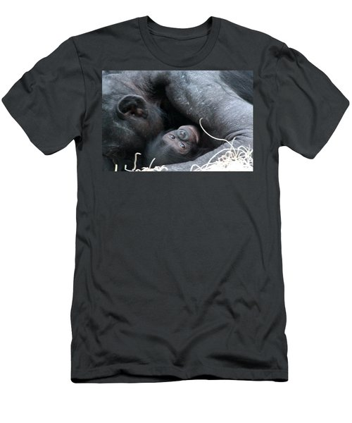 Mother Bonobo And Her Baby Men's T-Shirt (Athletic Fit)