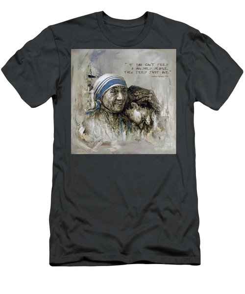 Men's T-Shirt (Slim Fit) featuring the painting Mother Teresa Portrait  by Gull G