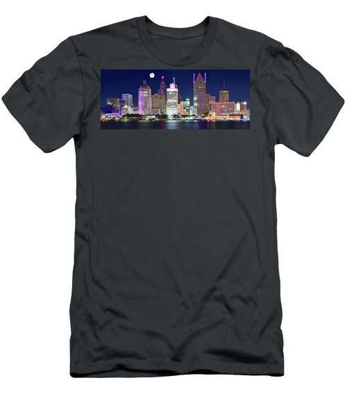 Men's T-Shirt (Slim Fit) featuring the photograph Motor City Night With Full Moon by Frozen in Time Fine Art Photography