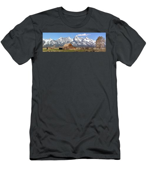 Moulton Barn Blue Sky Panorama Men's T-Shirt (Slim Fit) by Adam Jewell