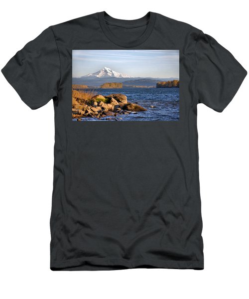 Mount Hood And The Columbia River Men's T-Shirt (Slim Fit) by Jim Walls PhotoArtist