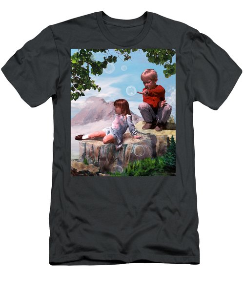 Men's T-Shirt (Slim Fit) featuring the painting Mount Innocence by Steve Karol
