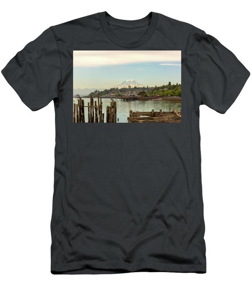Mount Rainier From City Of Tacoma Washington Waterfront Men's T-Shirt (Athletic Fit)