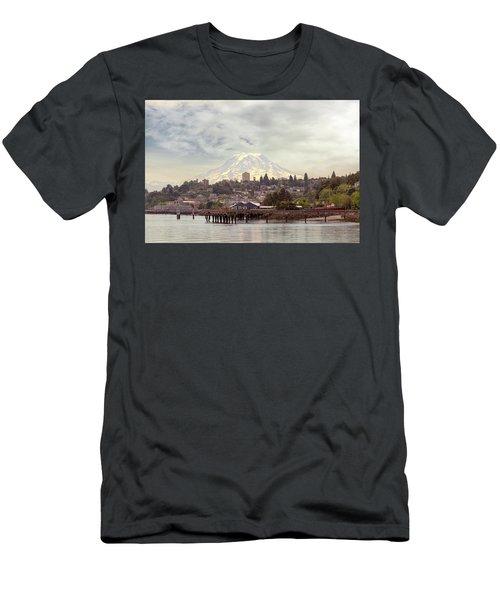 Mount Rainier Over City Of Tacoma Washington Men's T-Shirt (Athletic Fit)