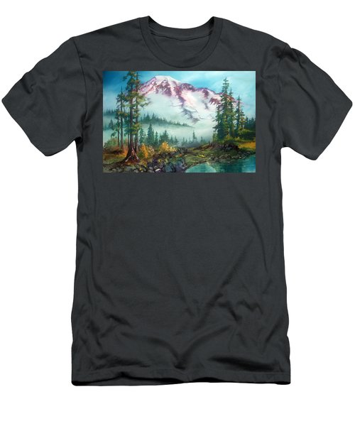 Men's T-Shirt (Slim Fit) featuring the painting Mount Rainier by Sherry Shipley