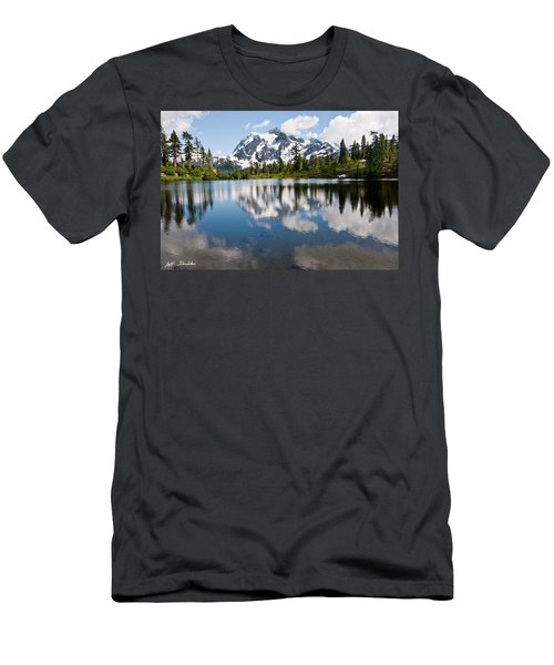 Mount Shuksan Reflected In Picture Lake Men's T-Shirt (Slim Fit) by Jeff Goulden