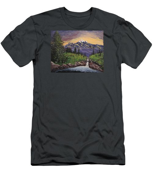 Mountain And Waterfall 2 Men's T-Shirt (Athletic Fit)