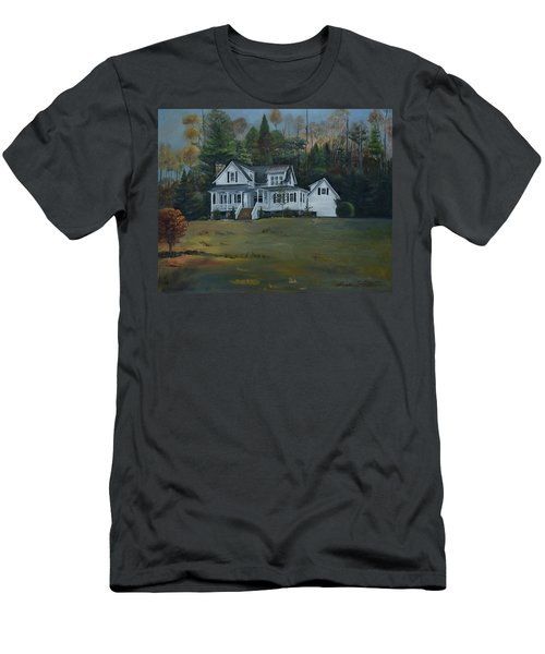 Men's T-Shirt (Athletic Fit) featuring the painting  Mountain Home At Dusk by Jan Dappen
