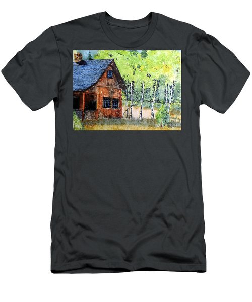 Men's T-Shirt (Slim Fit) featuring the painting Mountain Home by Tom Riggs