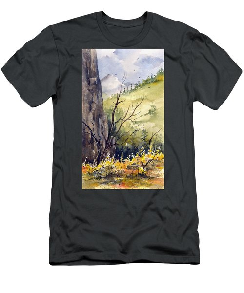 Men's T-Shirt (Athletic Fit) featuring the painting Mountain Landscape by Sam Sidders