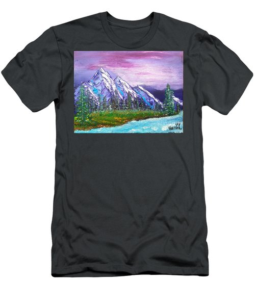 Mountain Meadow Landscape Scene Men's T-Shirt (Athletic Fit)