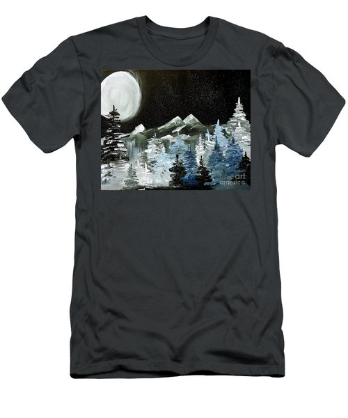 Men's T-Shirt (Slim Fit) featuring the painting Mountain Winter Night by Tom Riggs