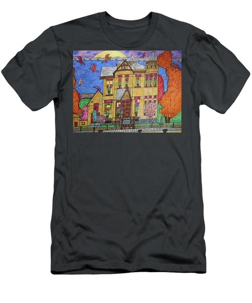 Men's T-Shirt (Slim Fit) featuring the drawing Mrs. Robert Stephenson Home. by Jonathon Hansen