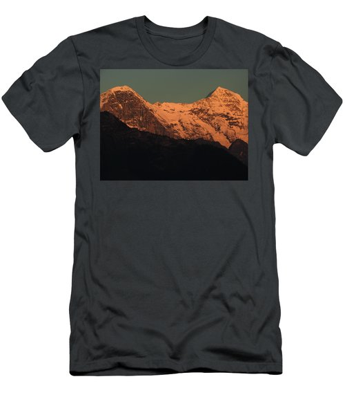 Mt. Eiger And Mt. Moench At Sunset Men's T-Shirt (Slim Fit) by Ernst Dittmar