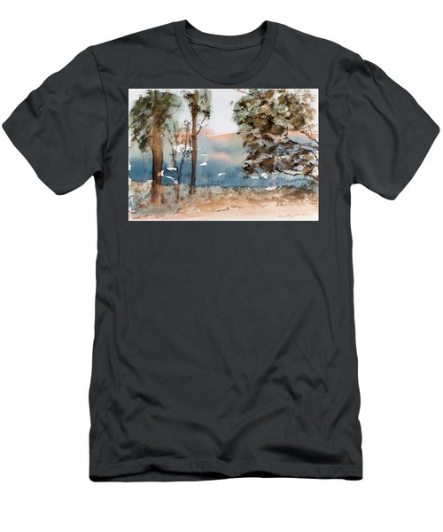 Mt Field Gum Tree Silhouettes Against Salmon Coloured Mountains Men's T-Shirt (Athletic Fit)