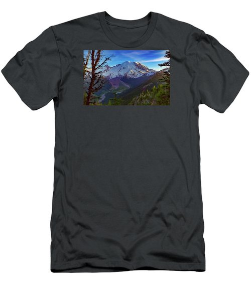 Mt Rainier At Emmons Glacier Men's T-Shirt (Slim Fit) by Ken Stanback