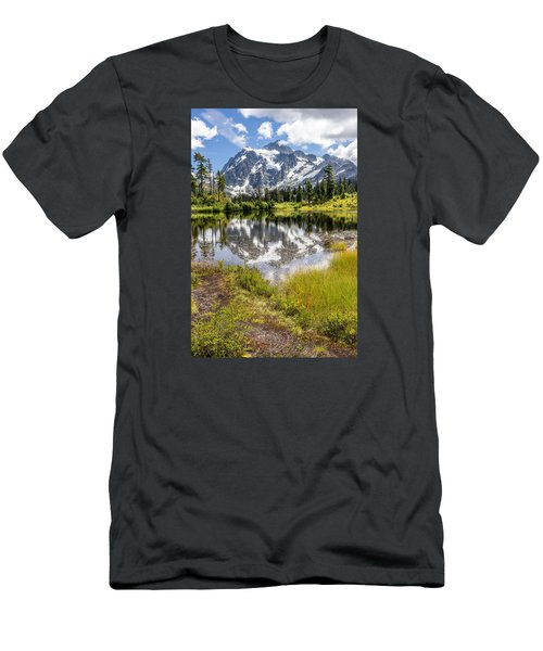 Men's T-Shirt (Slim Fit) featuring the photograph Mt Shuksan On Picture Lake 2 by Rob Green