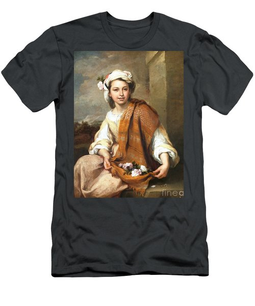 Men's T-Shirt (Slim Fit) featuring the painting Muchacha Con Flores by Pg Reproductions