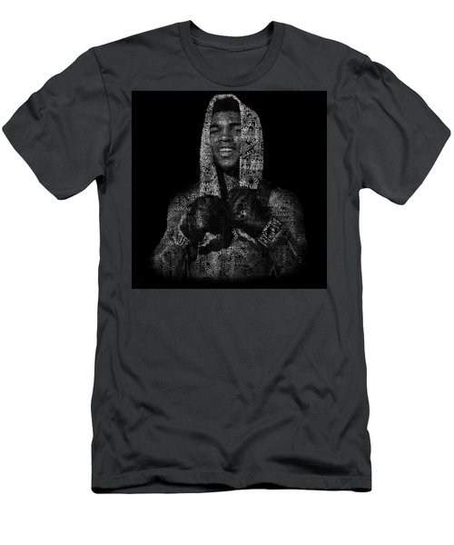 Muhammad Ali Or Cassius Clay Text Portrait - Typographic Face Poster Men's T-Shirt (Athletic Fit)