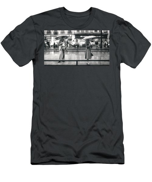 Men's T-Shirt (Athletic Fit) featuring the photograph Munich Tram Stop by KG Thienemann