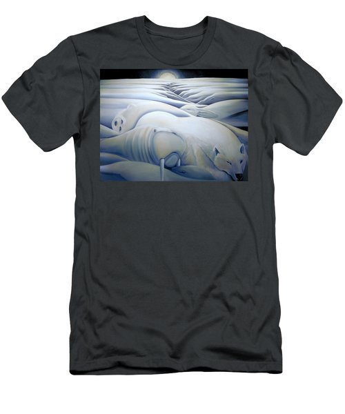 Men's T-Shirt (Slim Fit) featuring the painting Mural  Winters Embracing Crevice by Nancy Griswold