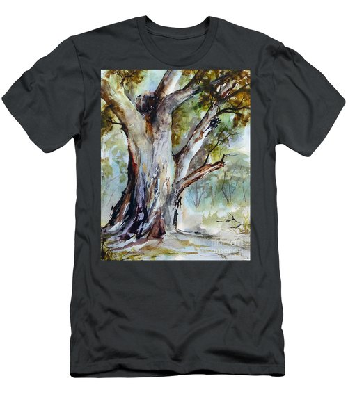 Men's T-Shirt (Athletic Fit) featuring the painting Murray River Gum, Cobram. by Ryn Shell