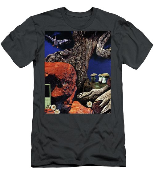 Men's T-Shirt (Slim Fit) featuring the painting Mushroom People - Collage by Linda Apple