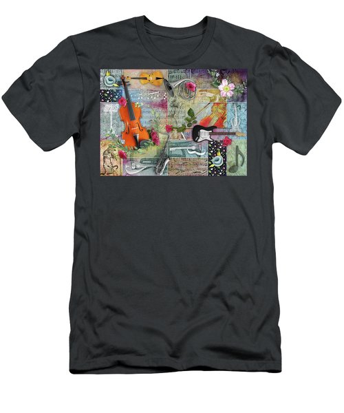 Musical Garden Collage Men's T-Shirt (Athletic Fit)