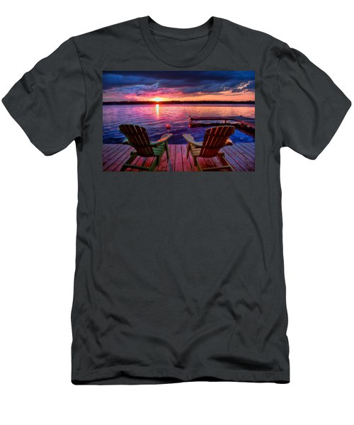 Men's T-Shirt (Athletic Fit) featuring the photograph Muskoka Chair Sunset by Michaela Preston