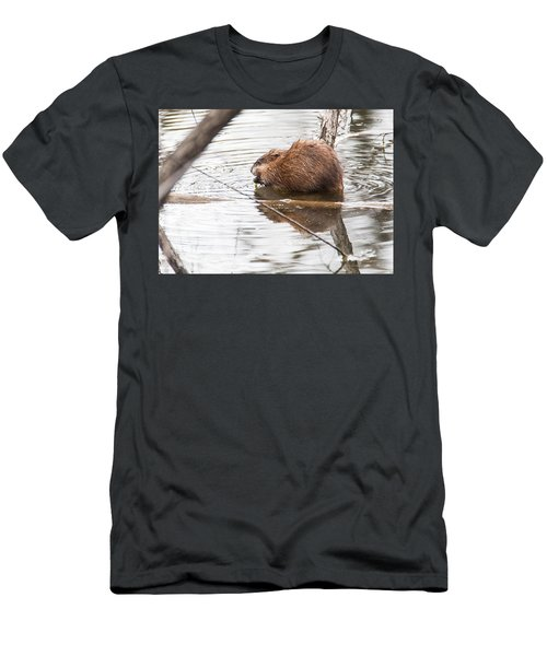 Men's T-Shirt (Slim Fit) featuring the photograph Muskrat Spring Meal by Edward Peterson