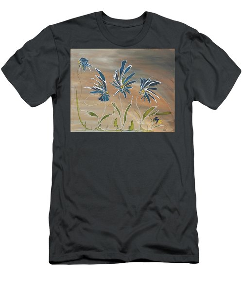 Men's T-Shirt (Slim Fit) featuring the painting My Blue Garden by Pat Purdy