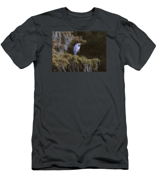 Men's T-Shirt (Slim Fit) featuring the photograph My Blue Heron by Phil Mancuso