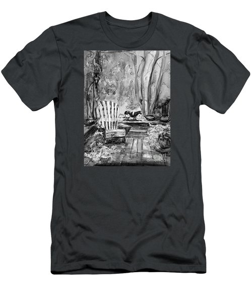 Men's T-Shirt (Slim Fit) featuring the painting My Front Deck In Bw by Gretchen Allen
