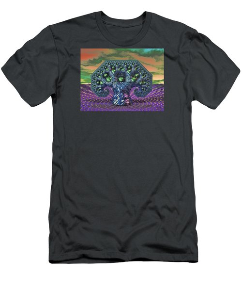 Men's T-Shirt (Slim Fit) featuring the digital art My Pythagoras Tree by Manny Lorenzo