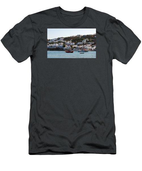 Mykonos Fishing Boats Men's T-Shirt (Slim Fit) by Robert Moss