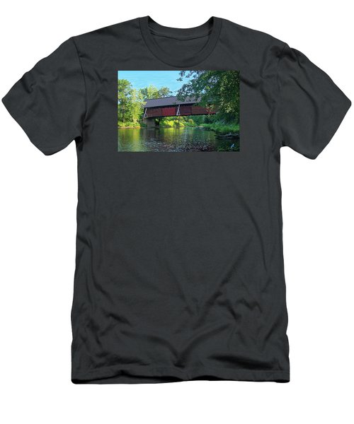 Men's T-Shirt (Slim Fit) featuring the digital art N. Troy Bridge by John Selmer Sr