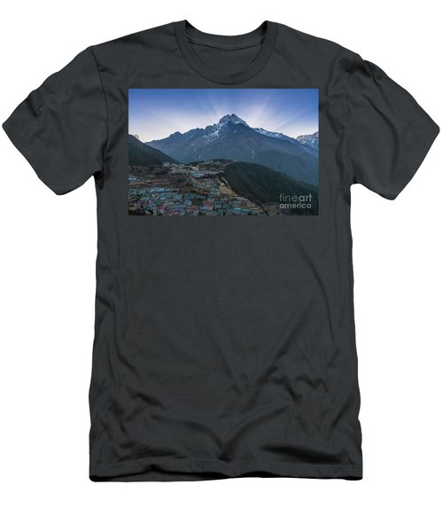 Men's T-Shirt (Slim Fit) featuring the photograph Namche And Thamserku Peak Morning Sunrays by Mike Reid