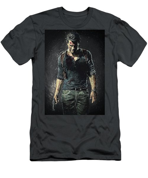 Men's T-Shirt (Athletic Fit) featuring the digital art Nathan Drake - Uncharted by Taylan Apukovska