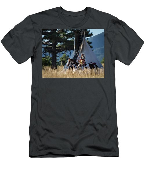 Native American In Full Headdress In Front Of Teepee Men's T-Shirt (Slim Fit) by Nadja Rider
