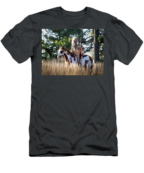 Native American In Full Headdress On A Paint Horse Men's T-Shirt (Slim Fit) by Nadja Rider