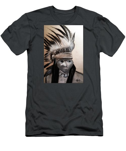 Men's T-Shirt (Slim Fit) featuring the painting Arapaho Man With Gun. 1898. Wyoming by Ayasha Loya