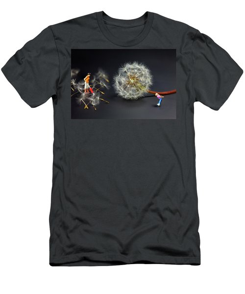 Men's T-Shirt (Slim Fit) featuring the painting Naughty Girl Playing Dandelion Little People Big World by Paul Ge