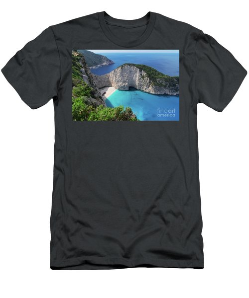 Navagio Beach Men's T-Shirt (Slim Fit) by Anastasy Yarmolovich