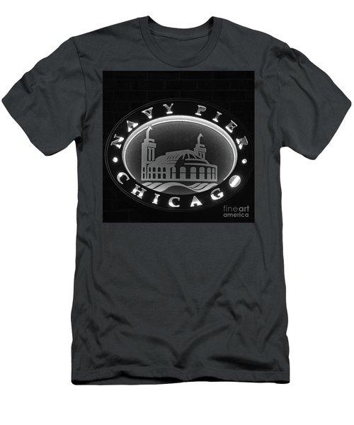Navy Pier Chicago Sign Men's T-Shirt (Athletic Fit)