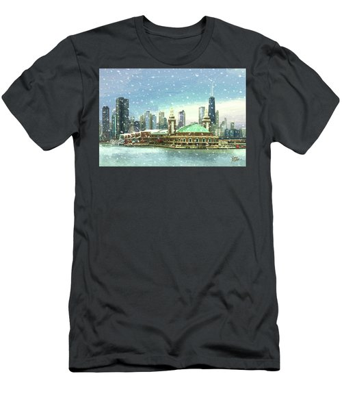 Men's T-Shirt (Slim Fit) featuring the painting Navy Pier Winter Snow by Doug Kreuger