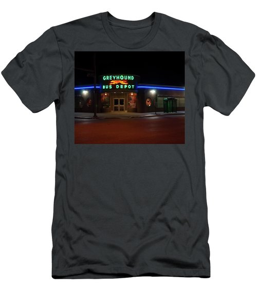 Men's T-Shirt (Athletic Fit) featuring the photograph Neon Greyhound Bus Depot Sign by Chris Flees