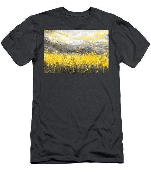 Neutral Sun - Yellow And Gray Art Men's T-Shirt (Athletic Fit)