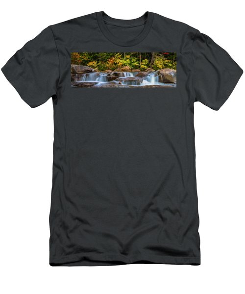 New Hampshire White Mountains Swift River Waterfall In Autumn With Fall Foliage Men's T-Shirt (Slim Fit) by Ranjay Mitra